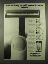 1972 Gillette Trac II Razor Ad - Like Shaving Twice - $14.99