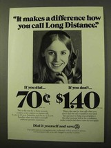 1971 Bell Long Distance Ad - Difference How You Call - $14.99