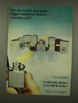 1973 Zippo Cigarette Lighters Ad - Warmly Dependable - $14.99