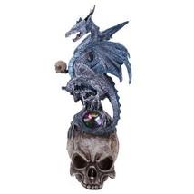 Blue Frost Mystic Dragon Perched On Skull Head Crystal Rhinestone Rock S... - $19.79