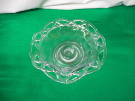 Crocheted Crystal Imperial Glass 1935-1950 Candle Holder Bowl Vintage - $27.73