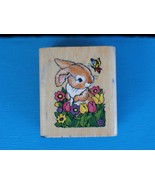 Bunny, Flowers, and Butterfly 1997 Noteworthy Rubber Stamp Small  Cute R... - $2.99