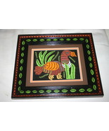Hand Painted Framed Mats Kuna Turkey Mola Hand ... - $96.99
