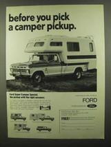 1974 Ford Super Camper Special Pickup Ad - $14.99