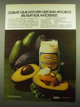 1974 Kraft Mayonnaise Ad - California Avocado Fruit - $14.99
