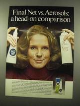 1975 Clairol Final Net Hair Spray Ad - Head-on - $14.99