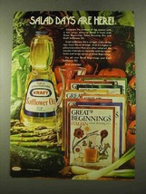1975 Kraft Safflower Oil Ad - Salad Days are Here! - $14.99