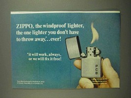 1974 Zippo Lighter Ad - Don't Have to Throw Away - $14.99