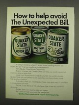 1975 Quaker State Motor Oil Ad - Unexpected Bill - $14.99