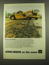1975 John Deere Scraper Ad - Recycle Old Asphalt - $14.99