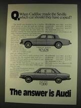1976 Audi 100LS Car Ad - Cadillac Should Have Copied - $14.99