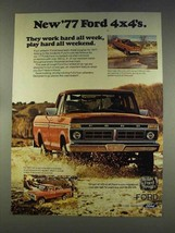 1977 Ford Pickup Trucks Ad - Work Hard All Week - $14.99