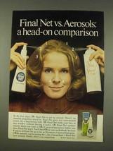 1976 Clairol Final Net Hair Spray Ad - Head-On - $14.99