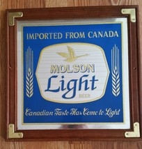 Antique Vintage Molson Light Beer Framed Bar Mirror Beer Sign Advertisement - $26.73