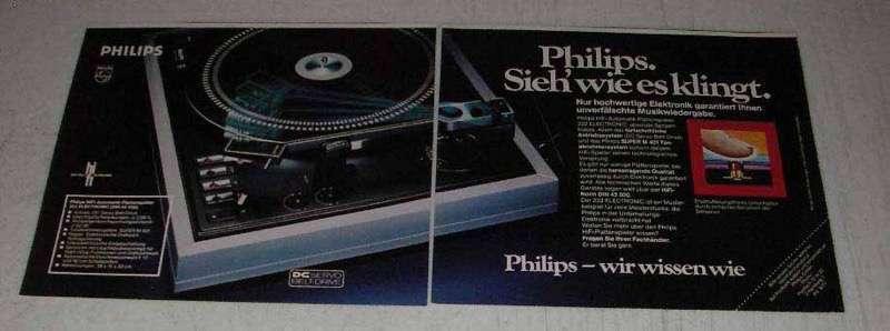 1977 Philips Audio Equipment Ad - in German - $14.99