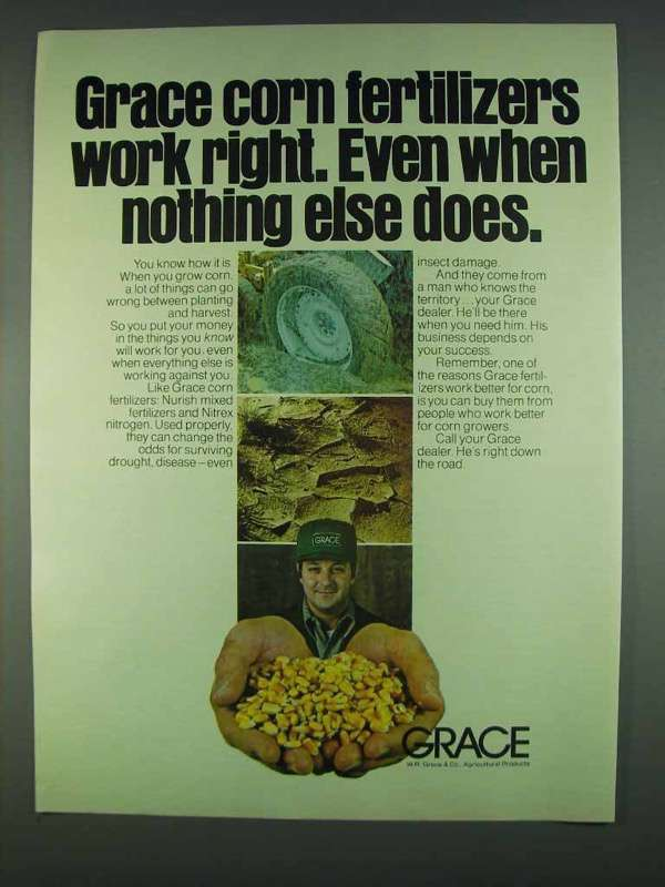Primary image for 1978 Grace Corn Fertilizers Ad - Work Right