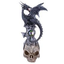 Dark Stone Mystic Dragon Perched On Skull Head Crystal Rhinestone Rock S... - €16,16 EUR