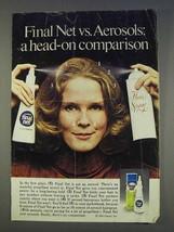 1977 Clairol Final Net Hair Spray Ad - vs. Aerosols - $14.99