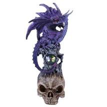 Mystical Purple Dragon Perched On Skull Head Crystal Rhinestone Rock Statue - $19.79