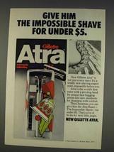 1977 Gillette Atra Razor Ad - Give The Impossible Shave - $14.99