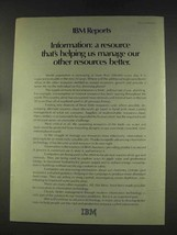 1977 IBM Computers Ad - Information: A Resource - $14.99