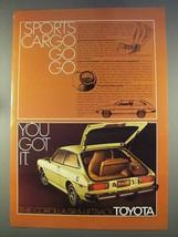 1977 Toyota Corolla SR-5 Liftback Ad - Sports Cargo - $14.99