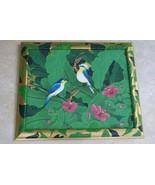 Signed Art Hand painted Framed Original Canvas Rainforest Crested Bird D... - $581.99