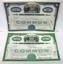 Erie Railroad Company~Stock Certificates~1949&1952~Cancelled - $10.00