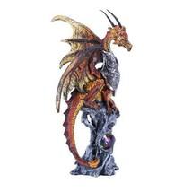 Orange Knight Mystic Dragon Perched On Rock Crystal Rhinestone Rock Statue - $15.83