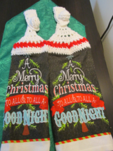 Handmade Crocheted Top Hanging Kitchen Towels With Merry Christmas White / Red T - $6.00