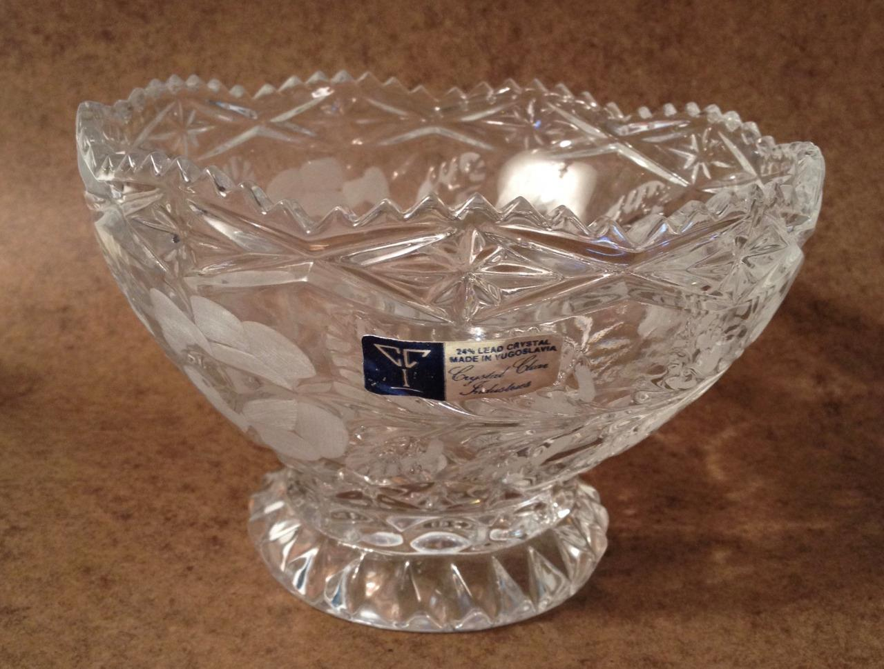 "Crystal Clear Industries 24% Lead Crystal Footed 6 1/4"" Bowl Floral Scalloped"
