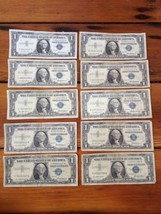 Lot of 10 $1 One Dollar Silver Certificates 1957 Series w/ 3 Star Notes - $89.99