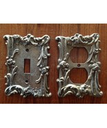 2 Vintage Brass Fancy Floral Outlet and Switch Cover Plates - $16.98