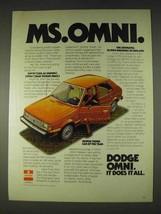 1978 Dodge Omni Ad - Ms. Omni - $14.99