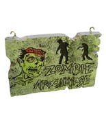 Zombie Apocalypse Sign Hand Carved Foam Halloween Decor Prop  - $26.00