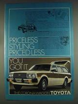 1978 Toyota Corona 5-Door Wagon Ad - Pricess Styling - $14.99