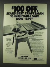 1978 Sears Craftsman 10-inch Table Saw Ad - $14.99
