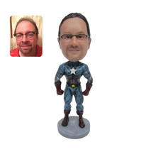 "Custom Made 7"" Captain America Bobble Head Marv... - $63.71"