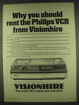1978 Visionhire Philips VCR Ad - You Should Rent - $14.99