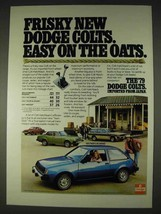 1979 Dodge Colt Hatchback Ad - Easy on the Oats - $14.99