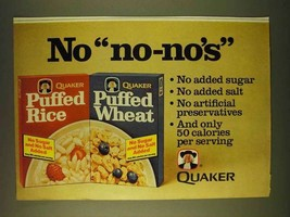 1979 Quaker Puffed Rice and Puffed Wheat Cereal Ad - $14.99
