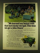 1980 John Deere 216 Lawn Tractor Ad - Learned Lesson - $14.99