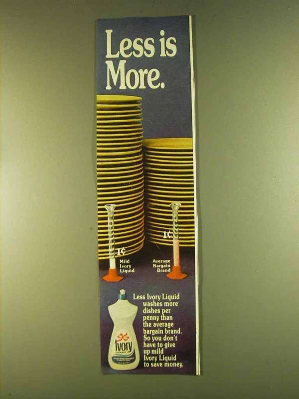 1980 Ivory Detergent Ad - Less is More - $14.99