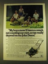 1980 John Deere 21-inch Lawn Mower Ad - My Boys Mow - $14.99