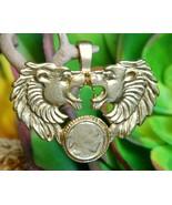 Vintage roaring pair lions leo miniature buffalo nickel coin pendant thumbtall