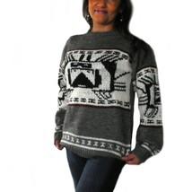 Alpakaandmore Womens Hand-knitted Peruvian Sweater Alpaca Wool Grey (Medium) - $215.82