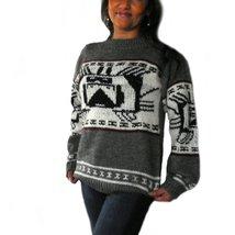 Alpakaandmore Womens Hand-knitted Peruvian Sweater Alpaca Wool Grey (Large) - $215.82