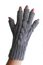 Alpakaandmore Womens Fingerless Alpaca Wool Gloves One Size Grey - $24.45