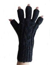 Alpakaandmore Womens Fingerless Alpaca Wool Gloves One Size Black - $24.45