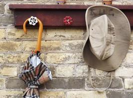Coat Rack Faucet Handle Vintage Wood Door Linte... - $42.00